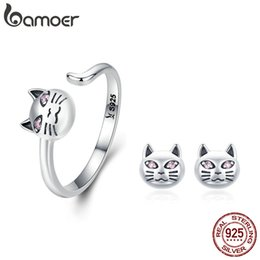 2019 afrikanische messing armbänder Authentische 925 Sterling Silber Sticky Cat Einstellbare Ringe Ohrringe für Frauen Schmuck Set Silber Geschenk