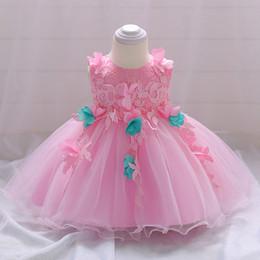 Meilleures robes de baptême en Ligne-Bébé rose fleur dentelle robe de baptême bébé fille robe de mariée robe de princesse meilleur prix avec une finition de haute qualité coton llining