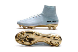 Wholesale Kids Cleats Shoes Soccer - 2018 White Gold CR7 100% Original Kids Indoor Soccer Shoes Mercurial Superfly V FG Soccer Cleats C Ronaldo Wholesale Football Boots