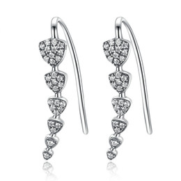 Wholesale White Cz Earrings Dangle - 100% Genuine 925 Sterling Silver Triangle Heart Long Drop Earrings with Clear CZ Sterling Silver Jewelry Brincos SCE039
