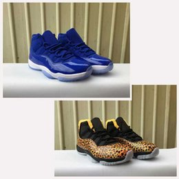 Wholesale Fall Patterns - Air Retro 11 Royal Blue Men Basketball Shoes Air Retro 11s XI Leopard Pattern Women Trainers Sports Sneakers US5.5-13 With Original Box