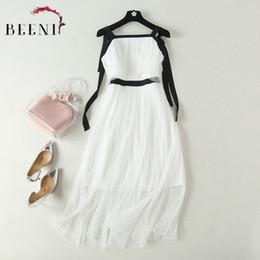 a4e34a3862c Robe de soirée Grenadine haut de gamme Femme Blanc Noir Couleur contrastée  See Through Lace Robe de soirée sans manches Tie Strap Robe longue