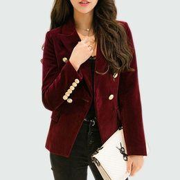 Wholesale Ladies Velvet Suits - Velvet Blazer 2017 Autumn Women Slim Long Sleeve Office Lady Blazers Feminino High Quality Small Suit Jacket Women Gold Button