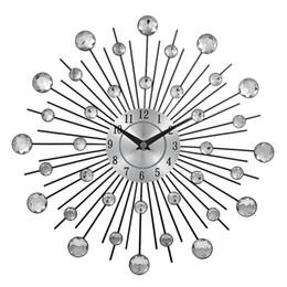 Canada Vintage Métal Art Horloge Murale De Luxe Diamant Grand Montre Murale Orologio Da Parete Horloge Morden Design Home Decor Wandklok supplier metal antique wall decor Offre
