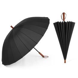 Wholesale long hanging lights - 24Ribs Umbrella Long Handle Stronger Windproof Rain Umbrella Solid Wooden Handle Paraguas with bags