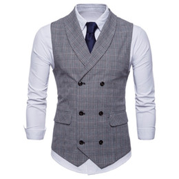 Roupas britânicas on-line-Colete dos homens Britânico Ocasional Terno Colete Masculino Double Breasted Vest Homem Mens Tops Roupas Vestido Slim Fit Gilet Homme