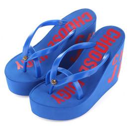 Корейские туфли на высоком каблуке онлайн-Оптовая торговля розничная 2018 Лето нескользящей корейской моды сандалии склон с флип-флоп платформы супер высокие каблуки сандалии тапочки пляжная обувь