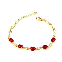 Roter ovaler achat online-(311B) 18 cm mit 3 cm Red Oval Achat Armbänder für Frauen 24k Gold Plated Blei und Nickel frei