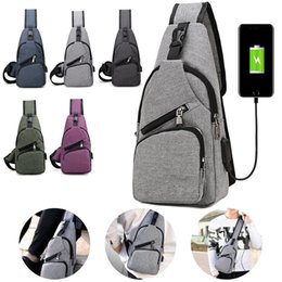 sling packs Coupons - Men Chest Pack USB Charging Messenger Bosom Bags Casual Travel Crossbody Shoulder Bag Polyester Sling Bags FFA196 5colors 60PCS