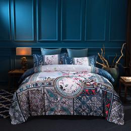 Jacquard chinês cama on-line-Luxo De Seda Egipto Algodão Brocade Chinês Clássico Conjunto de Cama de Impressão Digital capa de Edredon Folha de Cama Fronhas Rainha do Rei tamanho
