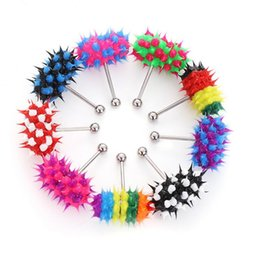 Wholesale Tongue Rings Vibrate - Free Shipping 2018 New Arrival Multi Color Silicone Stainless Steel Punk Hammer Shape Vibrating Tongue Bar Ring Stud Jewelry Body Piercing