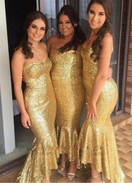06ceb1b626 2019 Golden Sequined Bridesmaid Dresses Hi Lo Strapless Mermaid Style  Wedding Guest Dress Formal Party Dress Custom Made