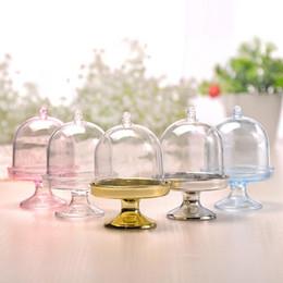 2019 caixas redondas redondas redondas 500 pcs de plástico transparente frutas bandeja tampa da lâmpada em forma de caixa de doces banquete de casamento criativo caixa de presente de casamento embalagem personalizada