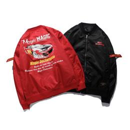 Wholesale hip hop cars - 18ss car PRINT Hip Hop Color Black Red Patchwork Zip Hooded Jackets Autumn Men Casual Pullover Hoodie Coat Streetwear