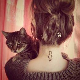 cartoon sexy del corpo Sconti Autoadesivi del tatuaggio del tatuaggio temporaneo di vendita calda quotidiana Autoadesivi del tatuaggio del disegno del gatto del fumetto Donne sexy Body Art Neck Neck Tatoo falso