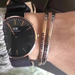 Wholesale men d watch - Fashion Style 40mm Rose Gold Mens Luxury Brand Women Men Leather Quartz Watches d&w Watches Montre Femme Nylon Relogio Masculino
