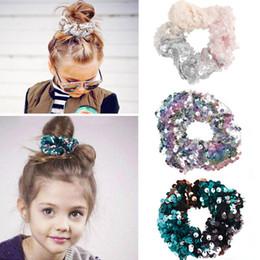 Argentina 12 estilos Sirena Reversible lentejuela Hairband Niños Hairband Princesa corbata de pelo Charm Scrunchie Ponytail Accesorios para el cabello 60 unids T1G112 Suministro