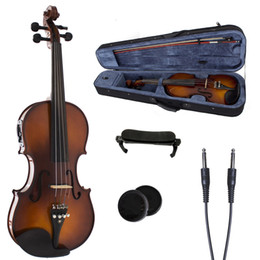 Wholesale Electric Acoustic Violin - 4 4 Electric acoustic violin Full size Canada Maple Spruce wood Ebony violin parts Free Violin Case Bow