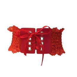 Larghe cinghie di pizzo online-Sweet Lace Retro Style Elastic Force Vita ampia di tenuta per le donne Bohemian Extensible Dress Skirt Accessori Belt