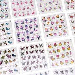 Цветовой лист онлайн-50 Sheets Nail Art Stickers Transfer 3D Flower Design Manicure Tips Decal Decor Nail Mixed Color DIY Tools
