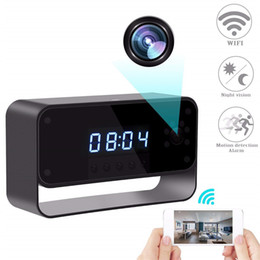 realtime camera Promo Codes - 32GB WIFI Camera Alarm Clock HD 1080P Wireless Nanny Cam with Night Vision Motion Detection Surveillance DVR Realtime Video for Security