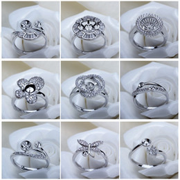 Wholesale Silver Jewelry Sets Wholesale - Pearl Rings Setting Zircon Solid 925 Silver Ring Setting Ring Mounting Ring Blank DIY Jewelry 11 Styles DIY Gift