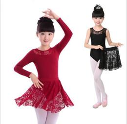 2019 giacche da ginnastica nere Kids Girls Balletto Dance Dancewear Ginnastica Body di pizzo Gonna Tutù Dress Strap Cotton Lycra Lace Black Tank Dance Body giacche da ginnastica nere economici