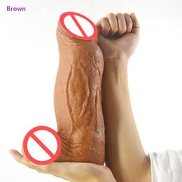Wholesale Strap For Large Dildo - 2018 Thick 8 CM Huge Realistic Dildo Giant Artificial Penis Dick Vagina Plug G Spot Stimulate Female Masturbation Sex Toy For Women 5 Color