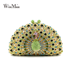 Wholesale Prom Clutch Bags - luxury peacock style evening party clutch bag shiny Handcraft crystal clutch diamonds chain dazzling women prom party hand bag