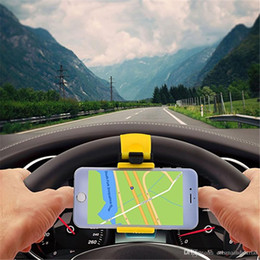 Wholesale iphone wheel - Universal Car Streeling Steering Wheel Cradle Holder SMART Clip Car Bike Mount for Mobile iphone samsung Cell Phone GPS Christmas Gift