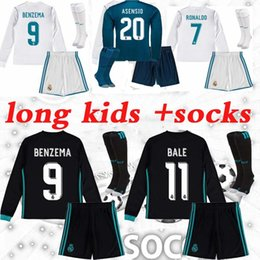 Wholesale Long Sleeve Kids Shirts - 20172018 Real madrid home 3rd kids long sleeve soccer Jerseys +socks 17 18 RONALDO ASENSIO BALE RAMOS ISCO MODRIC KROOS football shirts