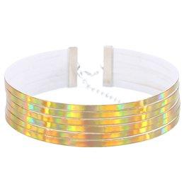Declaração colares europeus on-line-Couro PU Cholers Colares Colar De Prata Banhado A Metal Europeu Colar Curto Moda Feminina Luxo Colar Apelativo Presente Harajuku Jóias