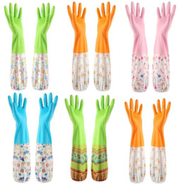 Wholesale long cleaning gloves - 5 Colors Kitchen Washing Gloves Long Waterproof Glove Household Home Kitchen Glove Hup Rubber Latex Dish Washing Cleaning EEA344