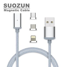 Wholesale blackberry magnet - SUOZUN Magnetic Cable 1M Type C Micro USB C 8 pin Fast Charging Adapter Phone Microusb Type-C Magnet Charger For iphone X 7 6 cord