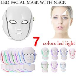 2019 ems maschera Maschera facciale del collo di 7 colori LED EMS Microelectronics LED Photon maschera antirughe ringiovanimento della pelle ringiovanimento per viso e collo bellezza ems maschera economici