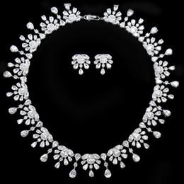 conjuntos de joyería nupcial floral Rebajas Collar floral Tenis Marca WEIMANJINGDIAN blanco color del lujo y pendientes Cubic Zirconia joyería fija de novia para las mujeres
