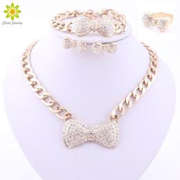 formas africanas do arco Desconto moda africano define Africano Set ouro cor cristal Bow Define brincos pulseira colar anel de moda jóias Set 3color