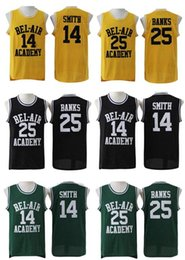 Wholesale fresh movies - The Fresh Prince of Bel-Air Stitched #14 Will Smith Jersey Bel-Air Academy Movie Version Jersey #25 Carlton Banks Jerseys Black Green Yellow