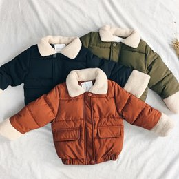 Wholesale 4t Winter Coat - 2017 winter children's cotton coat men and women baby solid color zipper lamb wool lapel shirt free shipping