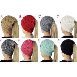 Wholesale Women Crochet Beanie - Female CC Beanies Winter Wool Hat Girl Ponytail Hat Woman Winter Warm Knitting Crochet Skeleton Bean Hat 3011008