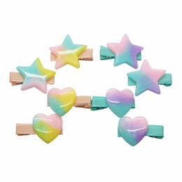 Wholesale heart shaped ornaments - Hot sale beautiful acrylic hair clips gradient five-pont star&heart shape glitter sky barrettes hairpins hair ornament for girls