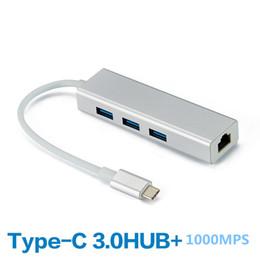 Wholesale ethernet macbook - In Stock 3 Ports USB Type C To USB 3.0 HUB 10 100 1000 Network Card USB C HUB Gigabit Ethernet Rj45 Lan Adapter For MacBook ChromeBook