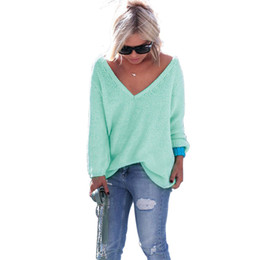 Turquoise Autumn Winter Women Sweater 2018 V-Neck Long Sleeves Knitted  Sweater Oversized Pullover Sweaters Loose Tops ONY0069 b36ec7a10