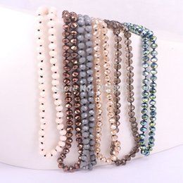 Wholesale Glass Bead Strands Wholesale - 5 Strands Zyunz Fashion Bohemian Jewelry knotted long Crystal Glass Bead Necklace Simple Jewelry For Women