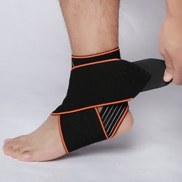 Wholesale foot guard - Safety Adjustable Ankle Support Gym Running Protection Black Foot Bandage Elastic Ankle Brace Band Guard Sport Free DHL G449S