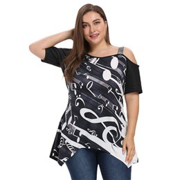 Wholesale musical sleeve - ZAFUL Musical Notes Print Women Shirt Summer Spaghetti Strap Skew Shoulder Short Sleeves Asymmetric Bottom Tops Trendy Plus Size