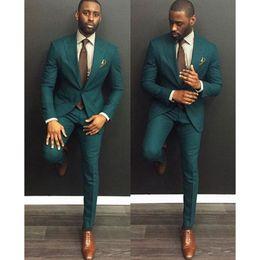 Wholesale custom blazers for men - Mens Suits 2017 Custom Made Burgundy Casual Men Suits Slim Fit Groom Groomsman Blazer for men 2 piece (Jacket+Pants)