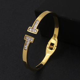 Wholesale Double Diamond Rings - Top Quality 316L Stainless Steel punk spring clasp opened bracelet with double T and diamond for women jewelry gift wedding Free shipping PS