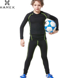 Wholesale black leggings boys - Kids Running Sets Compression Workout Tights Boys Soccer Basketball Training Suit Sports Leggings Gym Fitness Jogging Clothing