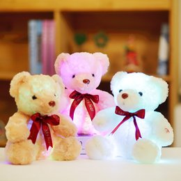 Wholesale sitting bears - 25cm plush bear toy doll with colorful LED light sitting bear with red tie children toys for kids birthday gift YYT222